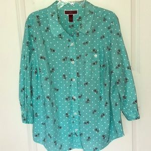 Karen Scott/ Bicycle Polka Dot Top